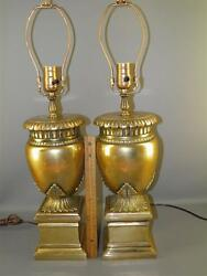 VINTAGE HEAVY SOLID BRONZE PAIR TABLE LAMPS NEO CLASSICAL FORM ACANTHUS LEAVES $950.00