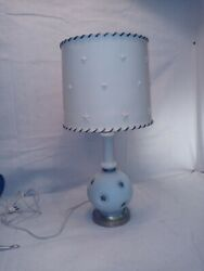 Vintage Pair of Blue Glass Lamps With Matching Star Celluloid Shades $145.00