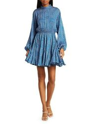 $500 NWT Rhode Caroline Dress Mock Neck Blue Circle Size S $289.99