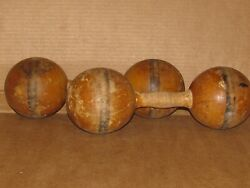 Antique Wooden Dumbbell Set Wood Pair Hand Weights Exercise Primitive $48.00