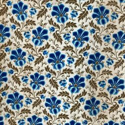 Antique fabric French 19th century cotton Prussian blue floral design $89.00