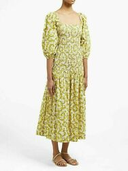 Rhode Resort Harper Shirred Floral Printed Midi Dress Smocked Cotton L Nw 198994 $229.95