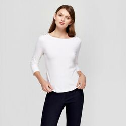 Womens Long Sleeve Top with Gold Button A New Day White Large $8.99