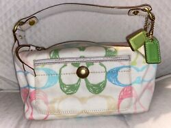 Vintage pastel COACH logo canvas small bag purse CUTE for spring