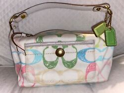 Vintage pastel COACH logo canvas small bag purse CUTE for spring $24.99