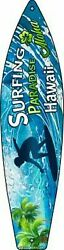 Surfing Paradise Hawaii Novelty Metal Surfboard Sign 17quot; x 4.5quot; Wall Decor DS $23.95