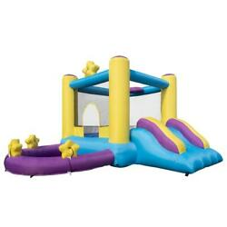 Inflatable Bounce House Castle Jump #x27;n Slide Bouncer for Kids with Water Pool $189.98