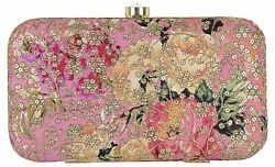 Designer Clutch Pink Floral Leatherite Fashion Purse Party Cocktail for Womens $26.94