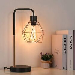 Modern Industrial Table Lamp Metal Rustic Desk Lamp with Geometric Cage Shade $23.59