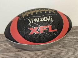 XFL Full Sized Vintage Spalding Leather Football Black Red Silver Official XFL $25.10