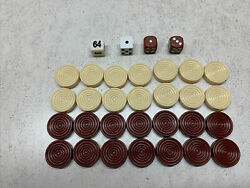Sears Harvard Multi Game Arcade Table PARTS Backgammon Pieces And Dice $15.00