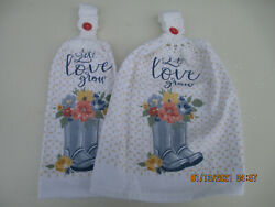2 Hanging Kitchen Dish Towels With Crochet Tops Rain Boots Floral Let Love Grow $7.95
