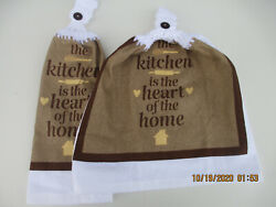 2 Hanging Kitchen Dish Towels With Crochet Tops Kitchen Is The Heart Of Home $7.95