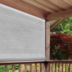 CORDLESS ROLL UP BLIND Outdoor Sun Shade Deck Patio PVC Manual Roll Up Exterior $52.99