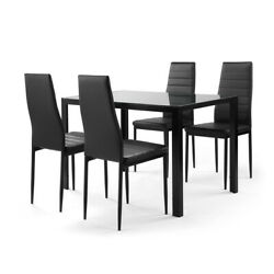 5 Pcs Dining Table Sets Glass Metal 4 PU Leather Chairs Kitchen Room Furniture $266.88