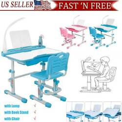 Height Adjustable Desk and Chair Set High School Student Childs Kids Study Table $74.88
