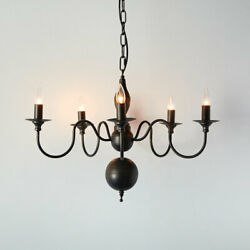 Five Arm Colonial Chandelier in Black metal $229.99