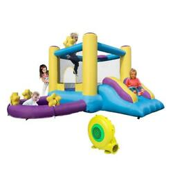 Inflatable Bounce House 2 Play Area Kids Jump Castle Water Slide Pool Air Blower $245.89