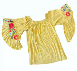 Umgee Embroidered Floral Sleeve Off The Shoulders Dress Size Large Yellow $29.99