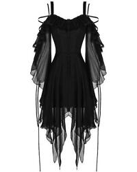 Dark In Love Gothic Dress Black Chiffon Sleeve Steampunk Witch Victorian Vampire