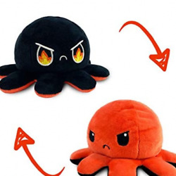Reversible Flip Octopus Plush Stuffed Toy Soft Animal Home accessories Fire Eyes $13.99