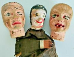 Lot 3 Antique Wooden Puppet heads Rare Hand carved Painted 19th century. $95.00