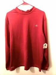 Starter Dri Star Long Sleeve Shirt Red Moisture Wicking Fitted Size 2XL NWT $14.00