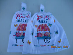 2 Hanging Kitchen Dish Towels With Crochet Tops Flower Cart $7.95