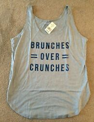 New Novelty Women#x27;s Active Brunches Over Crunches Gym Blue Athletic Tank Top L $21.99