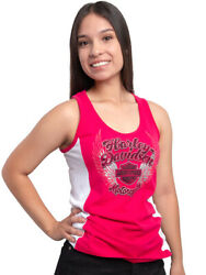Harley Davidson Womens Chrome Winged Bamp;S Hot Pink Colorblock Tank Top $19.99