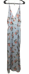 NWT Lush Maxi Dress Size S Pale Blue with Coral Floral Back Zipper Closure $19.99