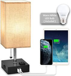 USB Bedside Table Lamp Nightstand Lamp with Dual Charging PortsLED Desk Lamps $29.99