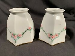 Vintage pair of Hand Painted Roses China Glass Shades NICE c1930s $55.00
