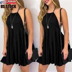 Sexy Womens Strap Mini Dress Ladies Casual Summer Evening Party Cocktail Dresses $14.81