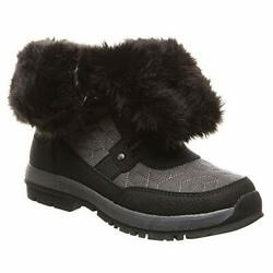 Bearpaw Womens 2150W Canvas Closed Toe Mid Calf Black Charcoal Size 6.0 hhcc $16.20