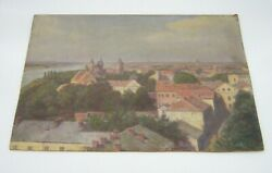 OLD OIL PAINTING ROOF TOPS AND BUILDINGS ON BOARD NICE $45.00