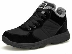 UPSOLO Mens Winter Trekking Snow Boots Water Resistant Shoes Black Size 10.0 $41.40