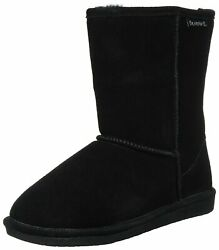 Bearpaw Womens Emma Short Suede Round Toe Mid Calf Cold Weather Black Size $30.57