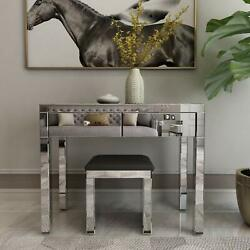 Mirrored Makeup Dressing Table with 2 Drawers Writing PC Desk Silver $203.99