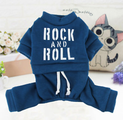 New Dog Blue Clothes 4 legged Jumpsuit With ROCK AND ROLL Printing For Small Dog $9.49