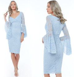 Goddess Scalloped Blue Lace Lined Knee Length Bell Sleeve Dress Party Cocktail GBP 29.99