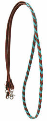 Horse Western Amish Leather Turquoise Laced Barrel Contest Reins 6676TR $38.99