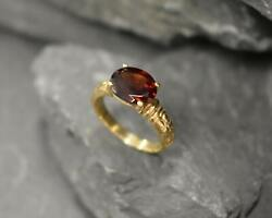 1ct Engagement Ring Oval Cut Red Garnet Vintage Solitaire 14k Yellow Gold Finish $107.99