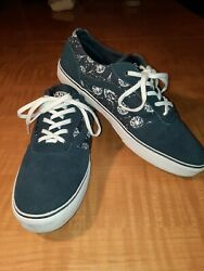 Vans Off The Wall Women#x27;s Size 10.5 US Blue Sneakers Shoes With Dandelion Clock $16.99