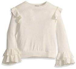Girls#x27; Long Ruffle Shoulder and Sleeve Top Ivory Size Large egJj $12.00