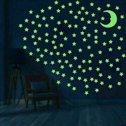 100 Glow Stars and 1 Moon In The Dark Star Plastic Stickers Ceiling Wall Bedroom GBP 2.99
