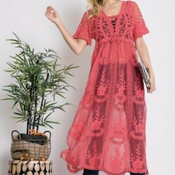 NWT Boutique Bohemian Crochet Maxi Dress Tunic Cover Up Coral Pink Women#x27;s Small $35.55