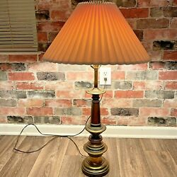 Stiffel Heavy Brass 3 Way Table Lamp With Original Shade 34 Inches Tall $65.00