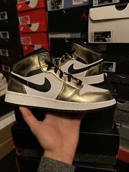 "Air Jordan 1 Mid ""Gold Metallic"" Size 6.5Y $115.00"
