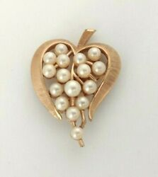 CROWN TRIFARI Small Vintage Faux Pearl Gold Tone Brooch Pin $24.95